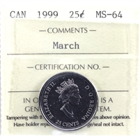 1999 March Canada 25-cents ICCS Certified MS-64