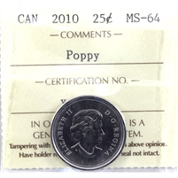 2010 Poppy Canada 25-cents ICCS Certified MS-65