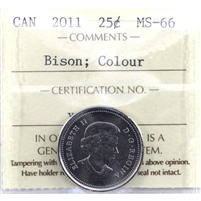 2011 Bison Colour Canada 25-cents ICCS Certified MS-66