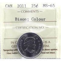 2011 Bison Colour Canada 25-cents ICCS Certified MS-65