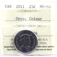 2011 Orca Colour Canada 25-cents ICCS Certified MS-64