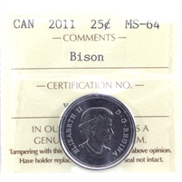 2011 Bison Canada 25-Cents ICCS Certified MS-64