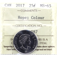 2017 Hope For a Green Future Colour Canada 25-Cents ICCS Certified MS-65