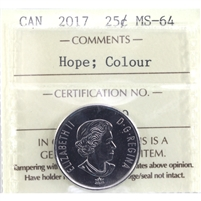 2017 Hope For a Green Future Colour Canada 25-Cents ICCS Certified MS-64