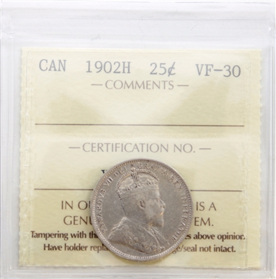 1902H Canada 25-Cents ICCS Certified VF-30