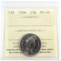 1996 Canada 25-Cents ICCS Certified MS-64