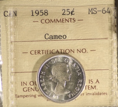 1958 Canada 25-Cents ICCS Certified MS-64 Cameo