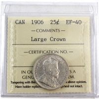 1906 Canada 25-Cents ICCS Certified EF-40 Large Crown