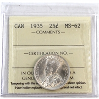 1935 Canada 25-Cents ICCS Certified MS-62 (XQL 209)