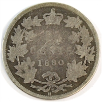 1880H Narrow 0 Over Wide 0 Canada 25 Cents About Good (AG-3) $