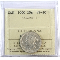 1900 Canada 25 Cents ICCS Certified VF-20 (XFV 031)