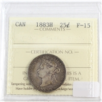 1883H Canada 25 Cents ICCS Certified F-15