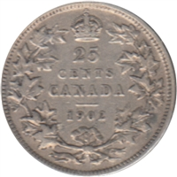 1902 Canada 25 Cents F-VF (F-15)
