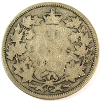 1871 Obv. 1 Canada 25 Cents Good (G-4) $