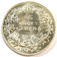 1930 Canada 25 Cents UNC+ (MS-62)