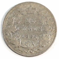 1886 Normal 6 Obv. 5 SBE Canada 25 Cents Very Good (VG-8) $