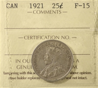 1921 Canada 25-Cents ICCS Certified F-15