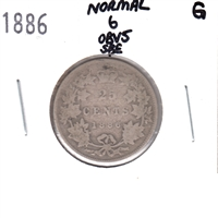 1886 Normal 6 Obv. 5 SBE Canada 25 Cents Good (G-4)
