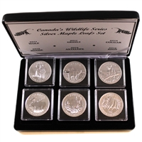 6x 2011-2013 Canada $5 Wildlife Series 1oz .999 Fine Silver in Display Case (No Tax)