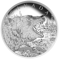 2016 Canada $125 Roaring Grizzly Bear Fine Silver (TAX Exempt)