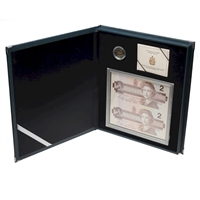 1996 Canada Piedfort $2 Silver & Banknote set in Blue Leatherette Case