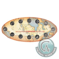 1999 Canada Millennium 12-coin 25-cent Set in Map of Canada Board