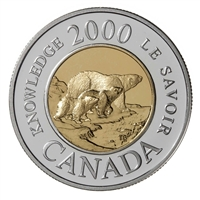 2000 Canada Proof Millennium Knowledge Sterling Silver Two Dollar.