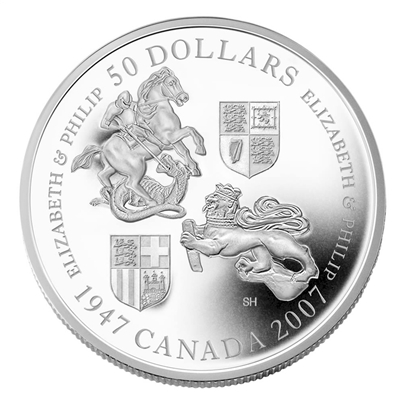 2007 Canada $50 Queen's 60th Wedding Anniversary 5oz. Fine Silver Coin (No Tax)