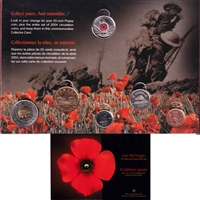 2004 Remembrance Day Lest We Forget Collector Card w/ Coloured Poppy 25-Cents - FULL
