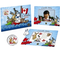 2009 Canada Day Coloured 25 Cents & Magnet Set