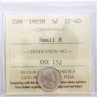 1903H Small H Canada 5-Cents ICCS Certified EF-40