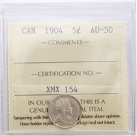 1904 Canada 5-Cents ICCS Certified AU-50