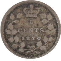 1870 Narrow Rim Canada 5-cents VG-F (VG-10)