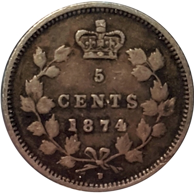 1874H Crosslet 4 Canada 5-cents F-VF (F-15) $