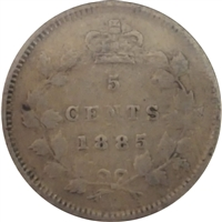 1885 Large 5 Canada 5-cents F-VF (F-15)