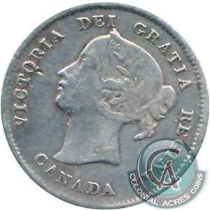 1886 Large 6 Canada 5-cents F-VF (F-15)