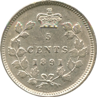 1891 Obv. 5 Canada 5-cents Almost Uncirculated (AU-50) $