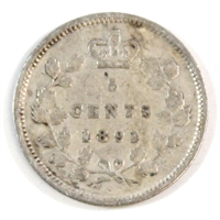 1891 Obv. 5 Canada 5-cents Very Good (VG-8)