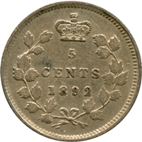 1892 Canada 5-cents Extra Fine (EF-40)