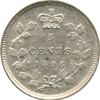 1896 Canada 5-cents Almost Uncirculated (AU-50)