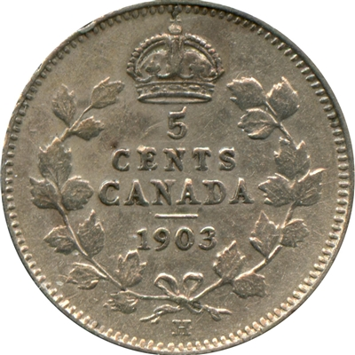 1903H Large H Canada 5-cents VF-EF (VF-30) $