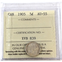 1905 Canada 5-Cents ICCS Certified AU-55