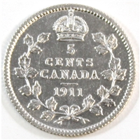 1911 Canada 5-cents Almost Uncirculated (AU-50)
