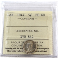 1914 Canada 5-Cents ICCS Certified MS-60 (XVB 842)