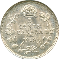 1918 Canada 5-cents Brilliant Uncirculated (MS-63) $