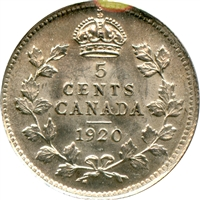 1920 Canada 5-cents Brilliant Uncirculated (MS-63)