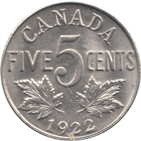 1922 Near Rim Canada 5-cents UNC+ (MS-62) $