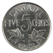 1922 Near Rim Canada 5-cents Brilliant Uncirculated (MS-63) $