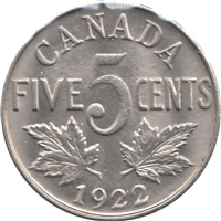 1922 Near Rim Canada 5-cents Uncirculated (MS-60) $