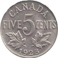 1923 Canada 5-cents Almost Uncirculated (AU-50) $